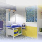 חדר אמבטיה בכחול וצהוב
